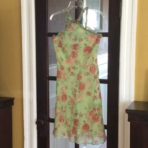 Silk Spring Dress/Pale green and rose floral
